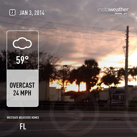 It's cool sunset morning outside of Palm Beach Lake area  photo