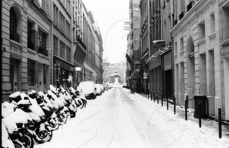 snow covered motorcycles along the street  photo