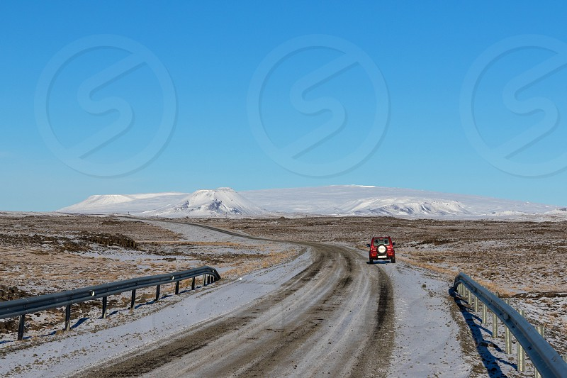 Driving on F52 road in Thingvellir National Park Iceland photo
