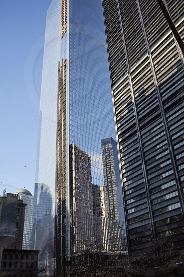 New York USA travel tourism tall buildings cityscape city shiny buildings modern architecture ground 0 reflections. photo
