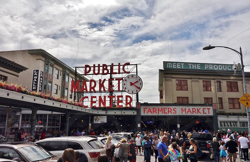seattle city pike pike market urban travel sightseeing market photo