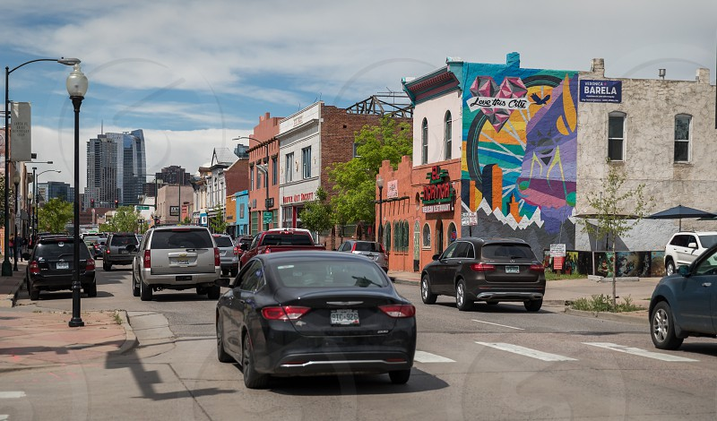 Impressions around Santa Fee street art district in Denver Colorado photo