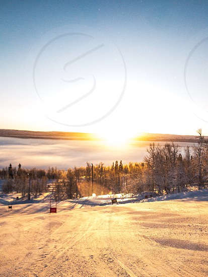 Skiing Snow Winter Cold Sunrise Sun  photo