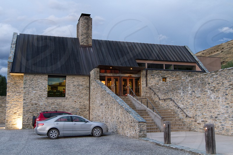 Amisfield Winery and Restaurant Arrowtown New Zealand exterior.  Food and patio images also available. photo