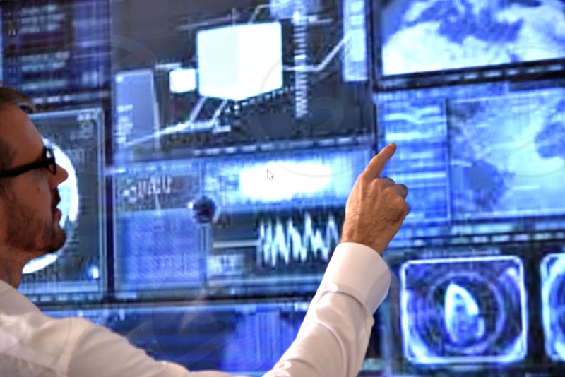 Data analysis employee pointing screen consult project manager discuss business businessman work working tech technology.  photo