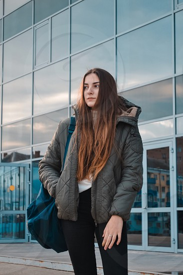 Russia girl autumn city  photo