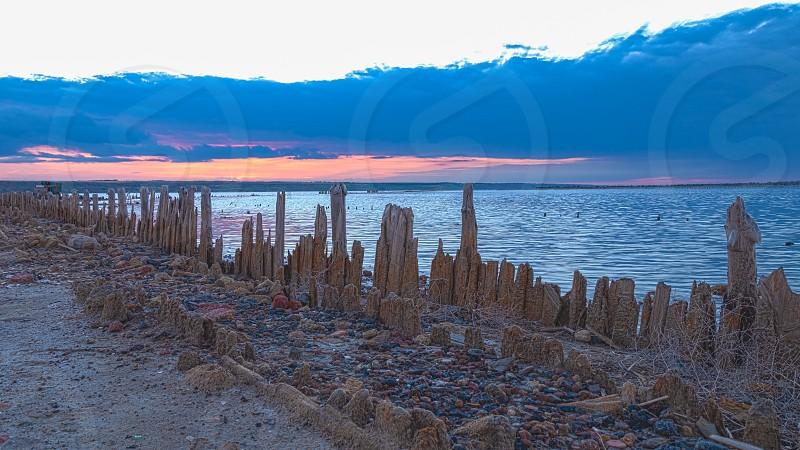Sunset on the salty estuary Kuyalnik  dead lake near Odessa Ukraine photo