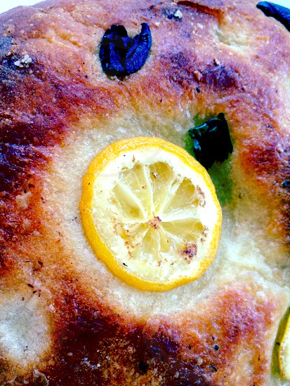 Fresh lemon and sage focaccia photo