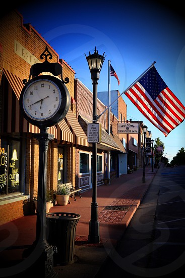 Main Street in Marceline Missouri. This is the town Walt Disney grew up in as a child and this street served as an inspiration for Main Street in Disneyland. photo