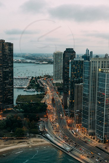 Lake shore drive. Chicago. From helicopter  photo