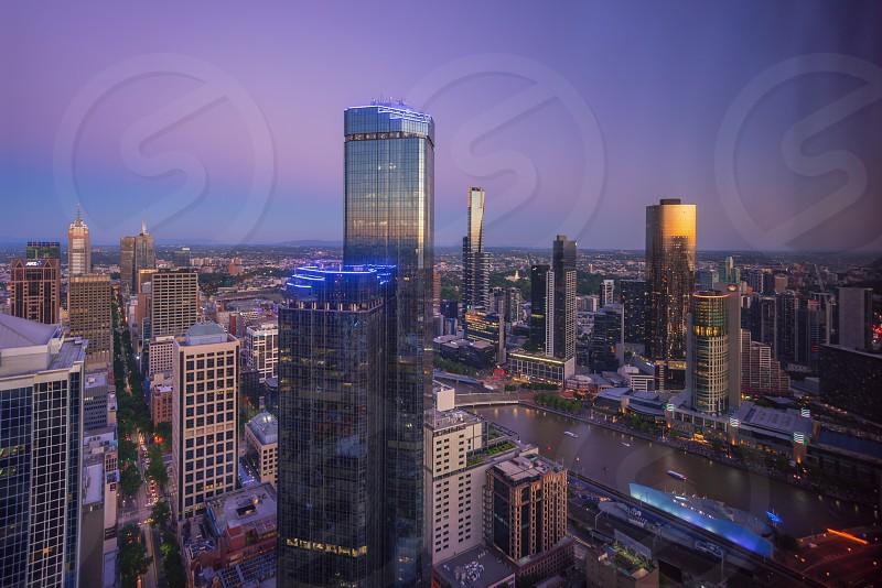 Beautiful dusk at Melbourne CBD photo