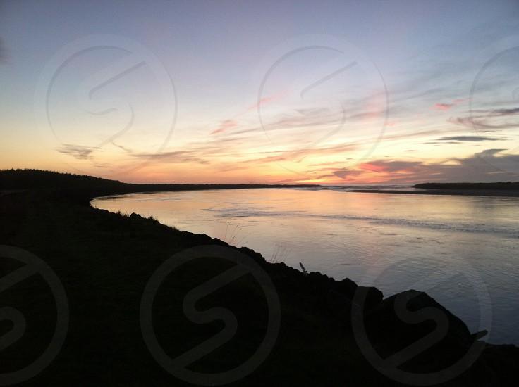Oregon Coast at sunset.  photo