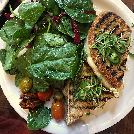 Looking down at a lunch plate with spinach salad sprouts toasted sandwich pecans and tomatoes photo