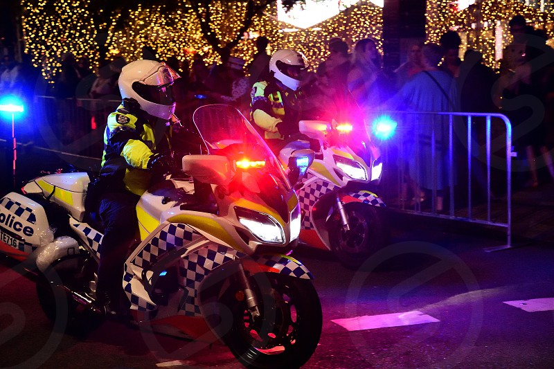 Police motorcycle officers on patrol in Perth Western Australia photo