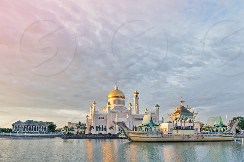 Sultan Omar Ali Saifuddin Mosque in Bandar Seri Begawan Brunei Darussalam depicting Mughal architecture and Italian style photo