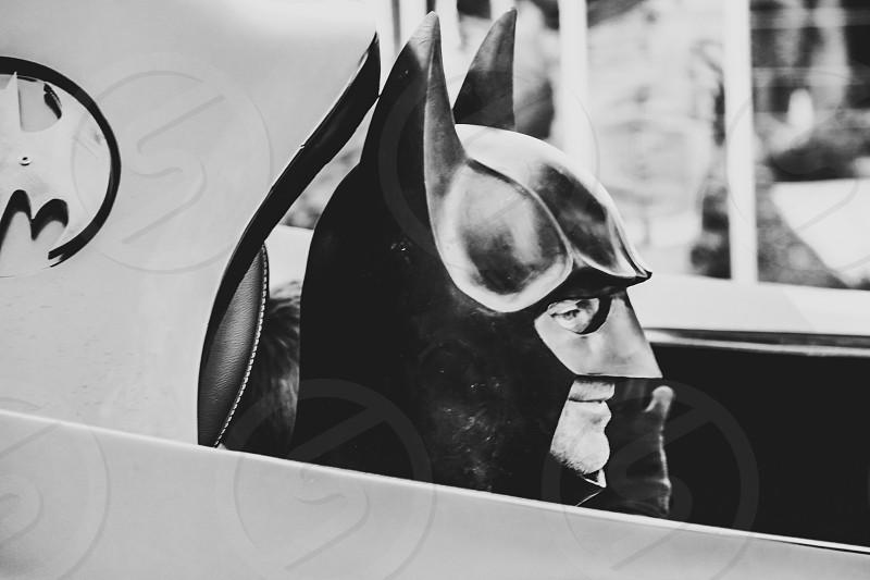 Batman in a batmobile superhero character black and white vintage classic  photo