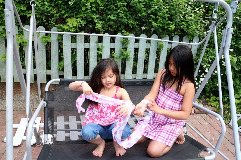 LisAm childhood children playing fun happy enjoy sisters nieces photo