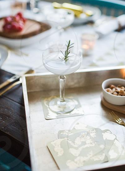 gin cocktail garnish tablescape photo