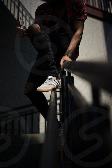 Shoes fashion male staircase sneakers adidas handrail city Chicago photo