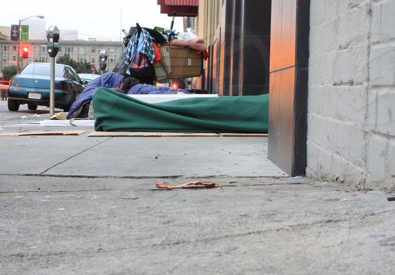 Homeless camp on the street. Sleeping on the street. photo