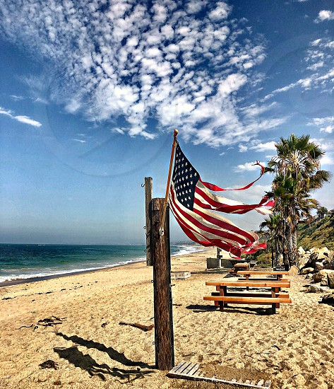 From The Contact Sheet Request Tattered American Flag On The Beach Along The Southern California Coastline Street Photography Street Art American Flags Coast Palm Trees Picnic Tattered American Flag Coastline Waves Unique Colorful  photo
