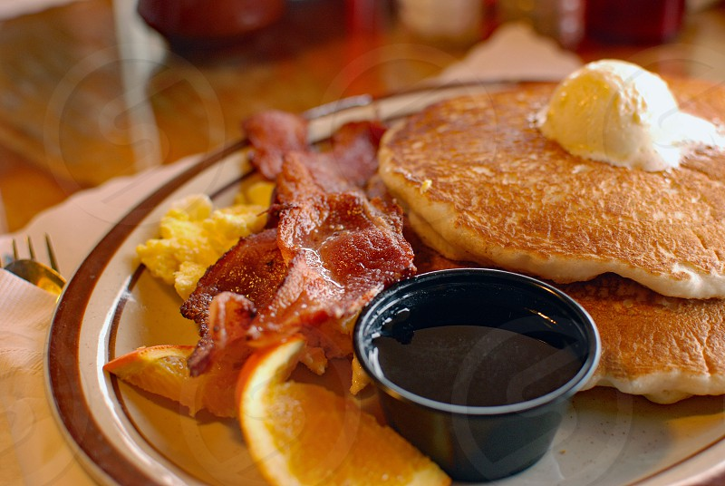 bacon egg pancake food breakfast photo
