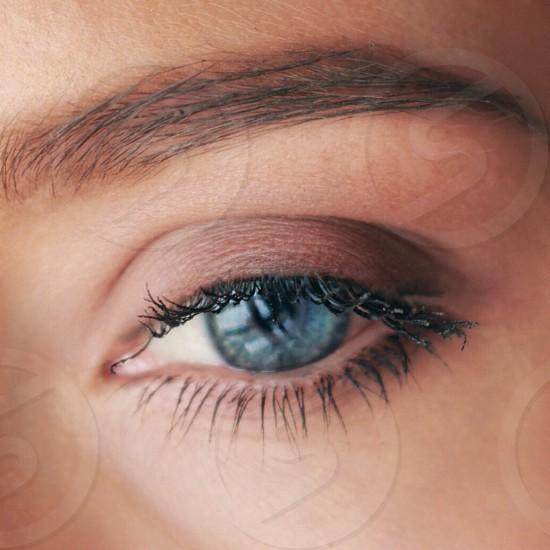 Blue eyes makeup romantic beautiful  photo