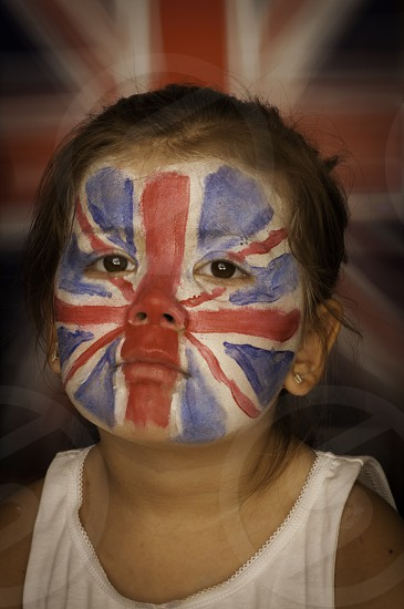 face painting union jack flag decoration red blue white photo