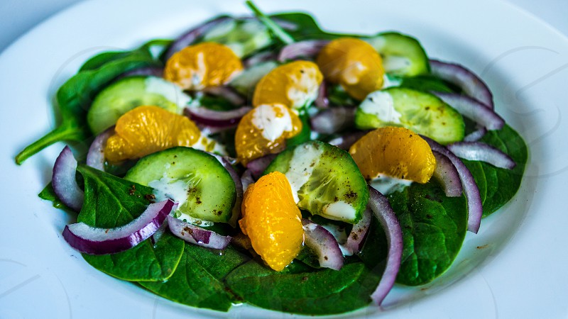 vegetable salad in white plate photo