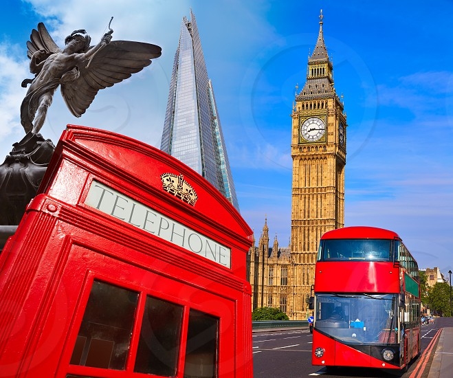 London bus photomount with telephone box and Big Ben photo