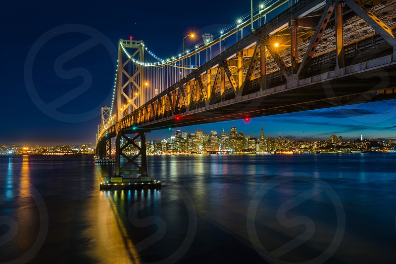 San Francisco Bay Bridge night photography long exposure light trails night sky skyline photo