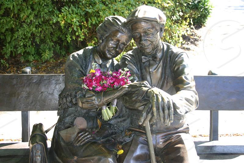 Decatur Ga. Valentine statue Decatur Courthouse elderly couple photo