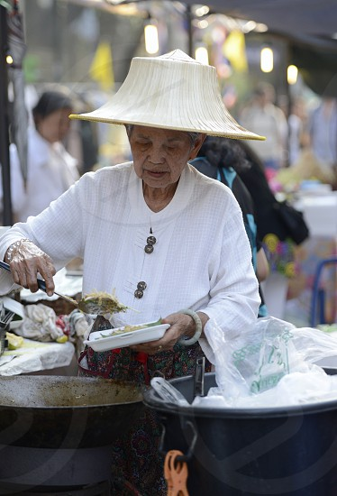 a market street at the Santichaiprakan Park at the Mae Nam Chao Phraya River in the city of Bangkok in Thailand in Southeastasia. photo