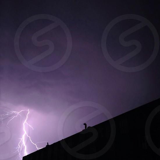 lightning strike at night photo