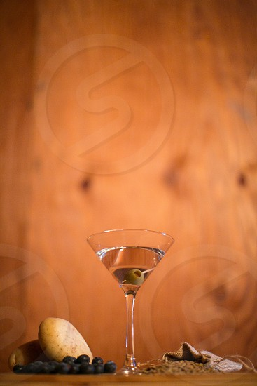 vodka martini drink food industrial red wood background photo