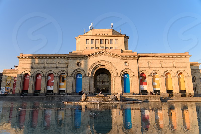 History Museum of Armenia located at the Republic Square in the center of Yerevan Armenia in April evening light.  photo