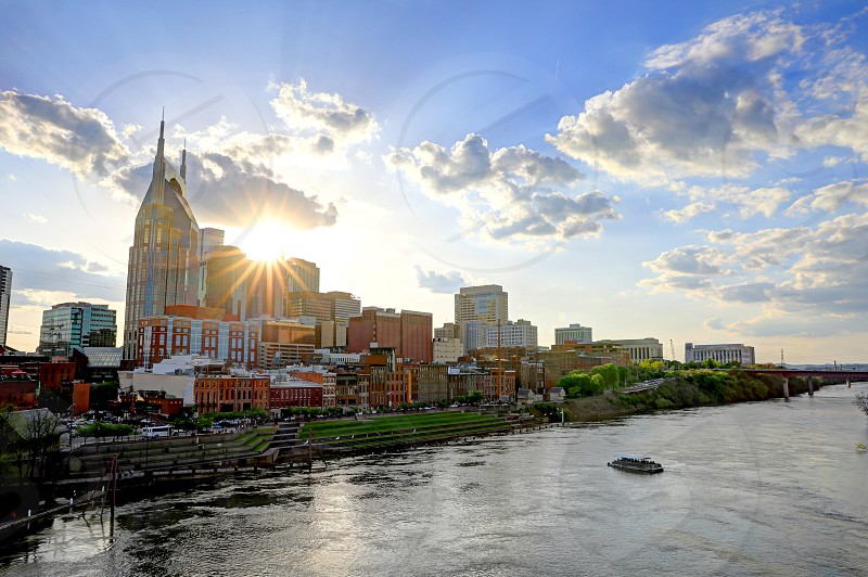 Nashville Tennessee USA downtown city skyline on the Cumberland River. photo