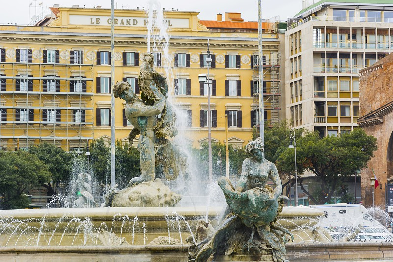 Detail of the Fountain of the Naiads in Piazza della Repubblica in Rome. The statue of  Glauco in the center symbolize the dominion of the man over natural force  photo