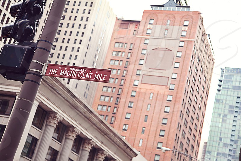"""Shopping on Michigan Avenue the premier commercial district called the """"Magnificent Mile"""" in Chicago Illinois. photo"""