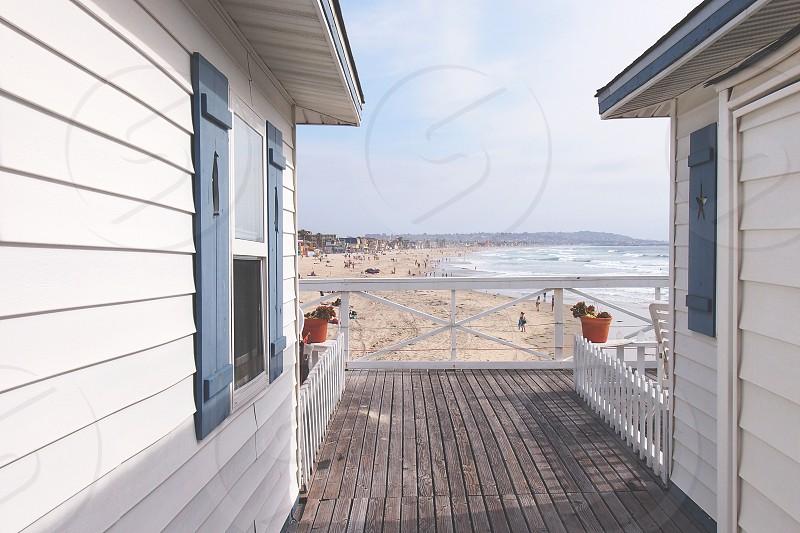 board walk beach san diego white blue photo