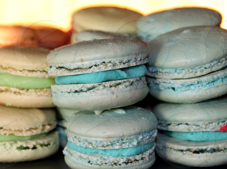 A selection of macrons in blue and brown photo