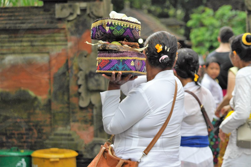 Balinese praying ceremony in the temple  photo