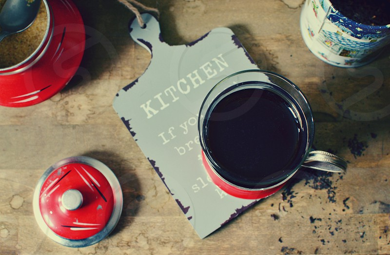 Black tea in a glass photo