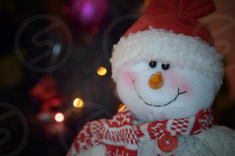 white snowman with santa hat and scarf photo