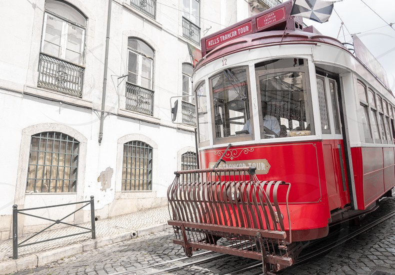 red cable car in Lisbon photo