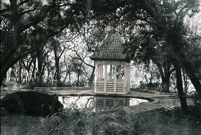 grayscale photography of gazebo beside pond photo
