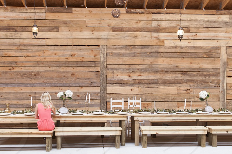 solitude muted wedding guest girl pink rustic barn brown white blonde photo