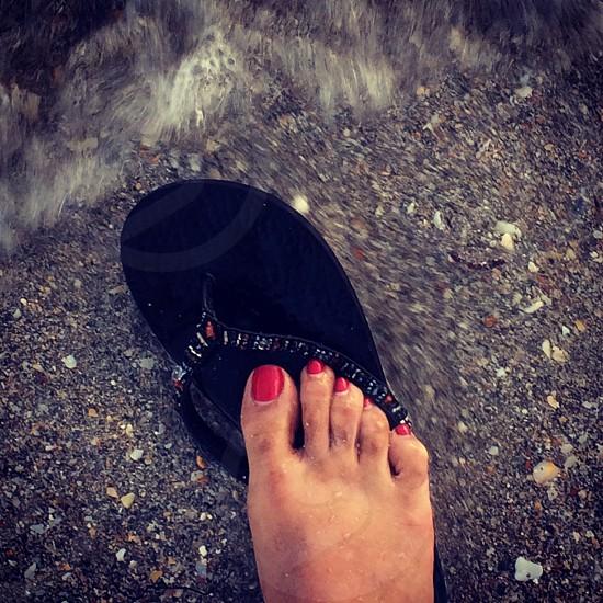 Foot Flip Flops sea beach sand nails photo