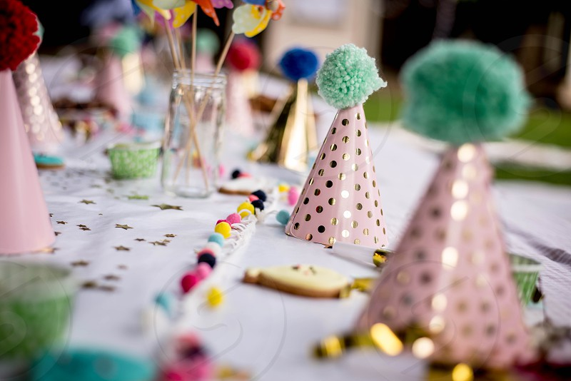 Photos of decor cake and children at kids birthday parties. Summer time fun! photo