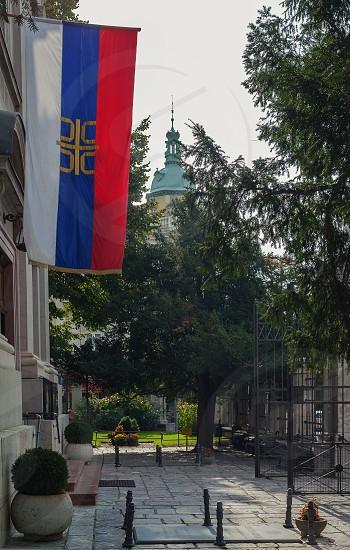 Belgrade Serbia - September 26 2017: Main entrance of Saborna Church during day. photo
